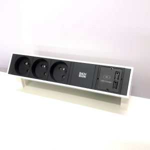 Desktop stekkerblok Bachmann desk 2 wit met usb laders